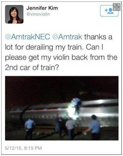 jennifer kim amtrak violin train derailment twitter image